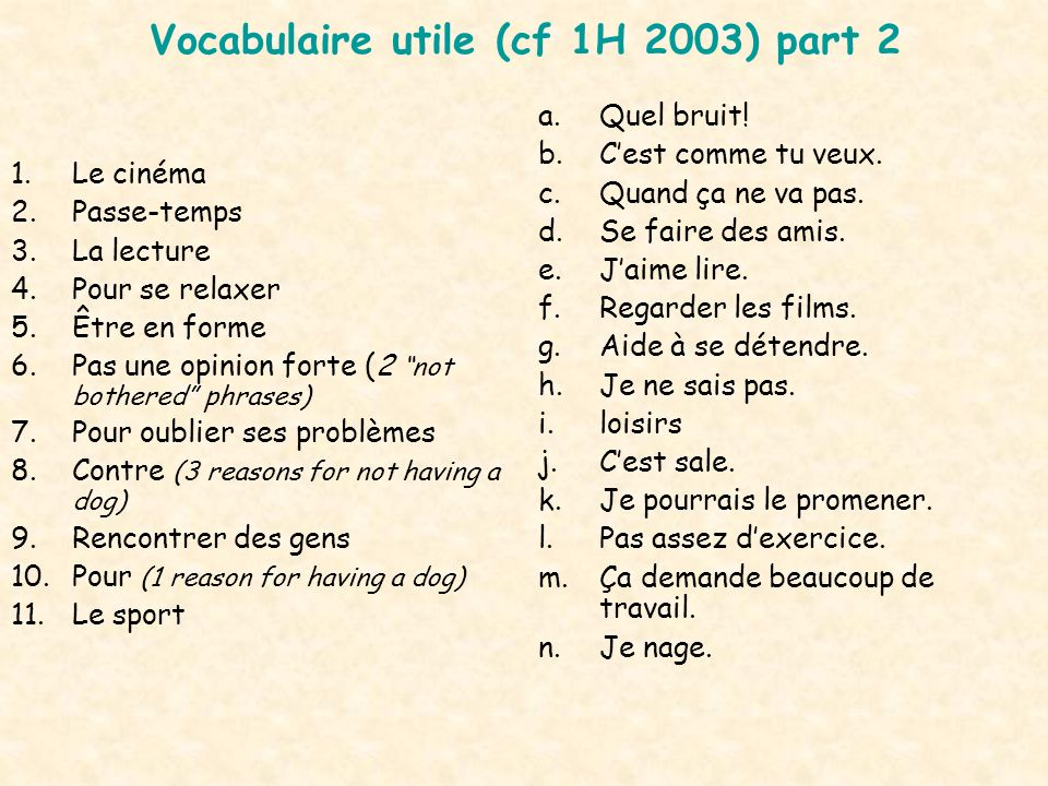 Vocabulaire utile (cf 1H 2003) part 2