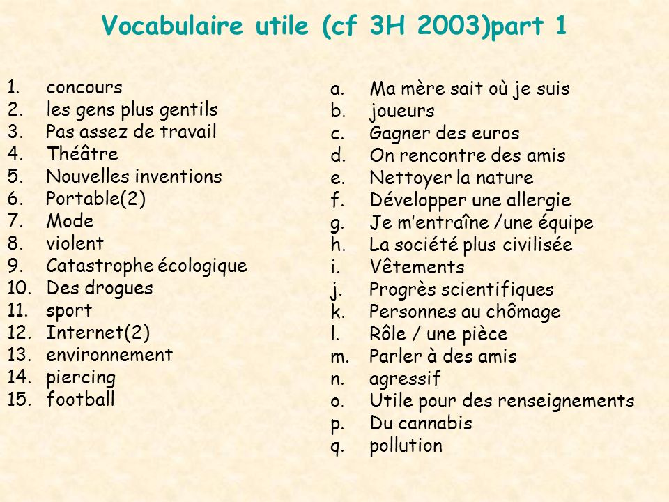 Vocabulaire utile (cf 3H 2003)part 1