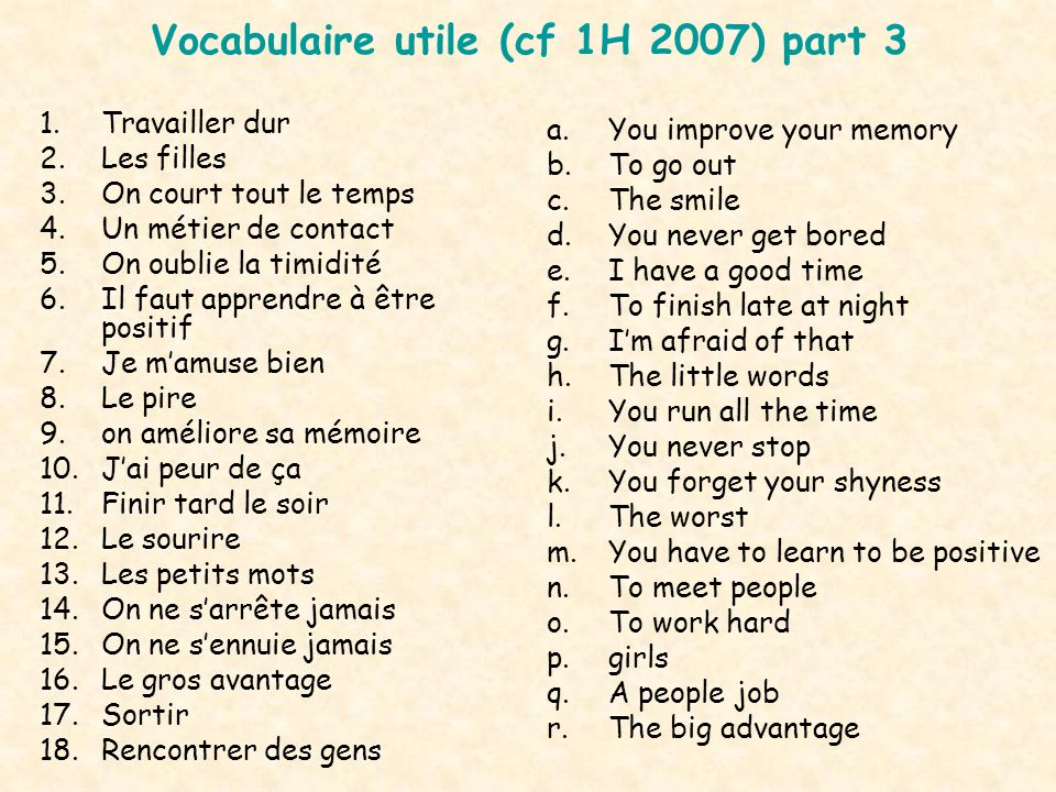 Vocabulaire utile (cf 1H 2007) part 3