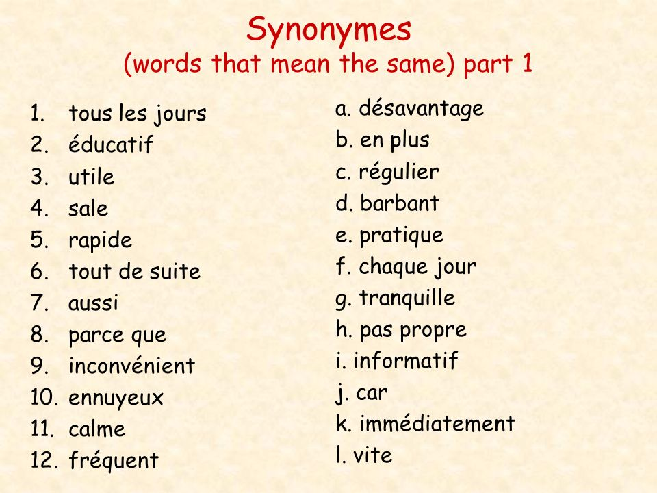 Synonymes (words that mean the same) part 1