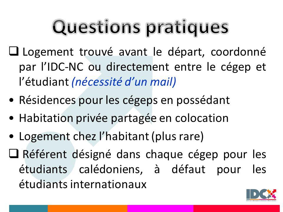 Questions pratiques Logement trouvé avant le départ, coordonné par l'IDC-NC ou directement entre le cégep et l'étudiant (nécessité d'un mail)