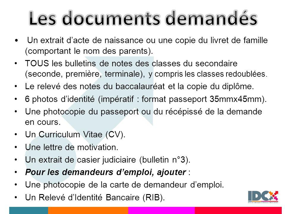 Les documents demandés