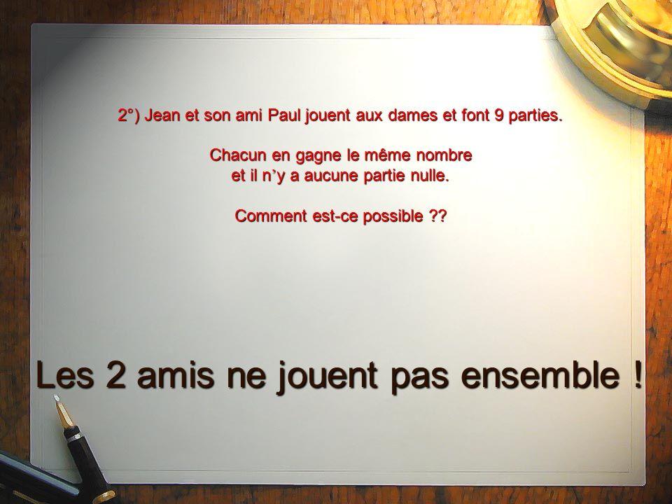 2°) Jean et son ami Paul jouent aux dames et font 9 parties