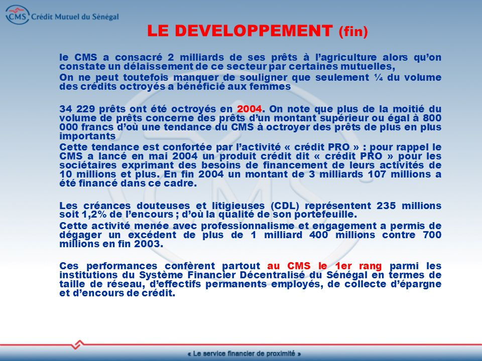LE DEVELOPPEMENT (fin)