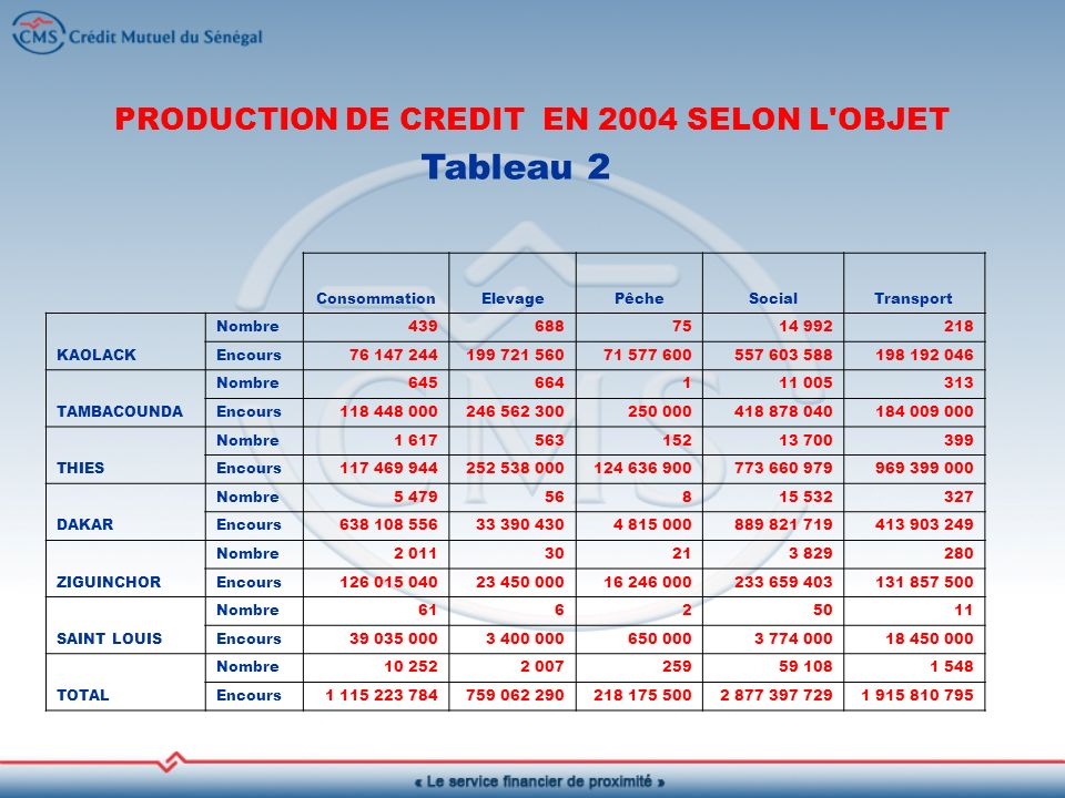 PRODUCTION DE CREDIT EN 2004 SELON L OBJET