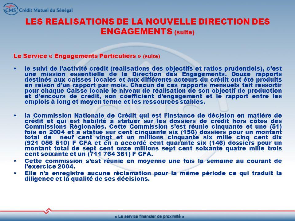 LES REALISATIONS DE LA NOUVELLE DIRECTION DES ENGAGEMENTS (suite)