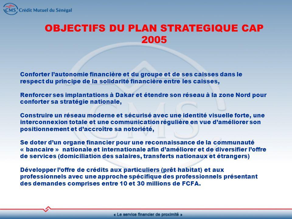 OBJECTIFS DU PLAN STRATEGIQUE CAP 2005