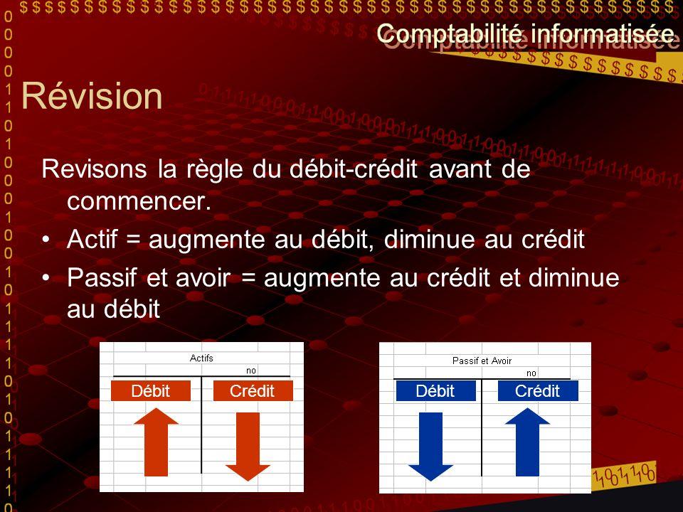 Révision Revisons la règle du débit-crédit avant de commencer.