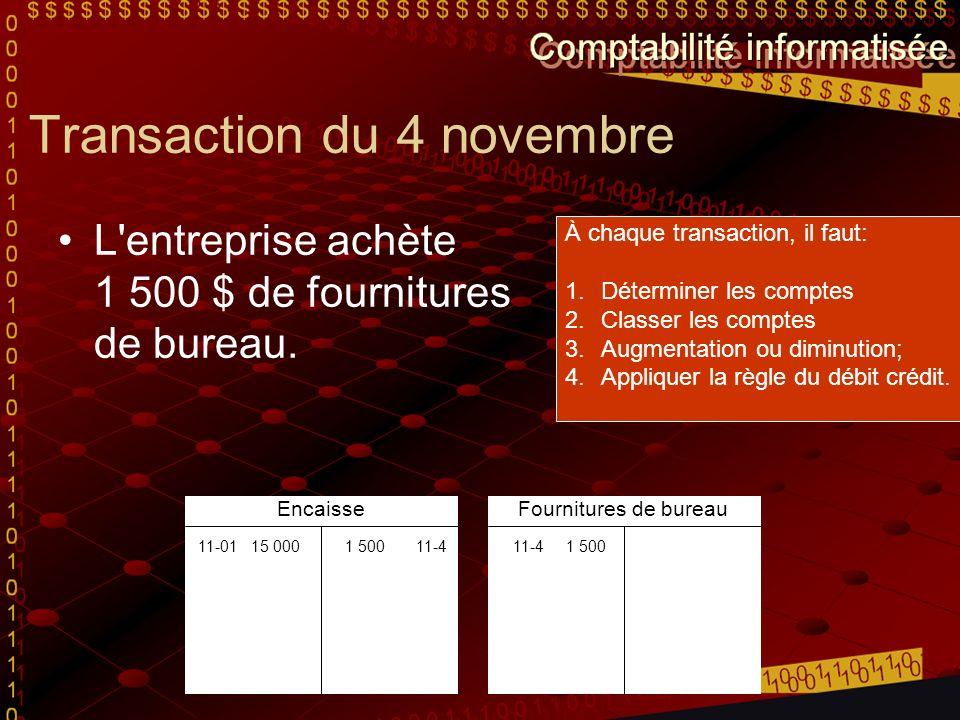 Transaction du 4 novembre