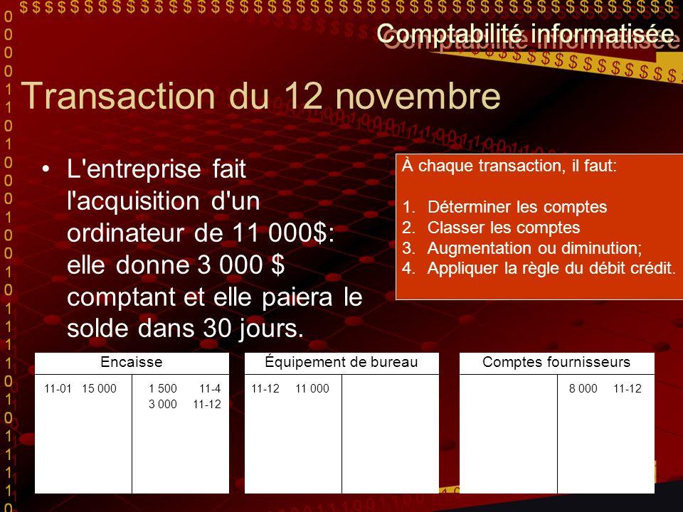 Transaction du 12 novembre