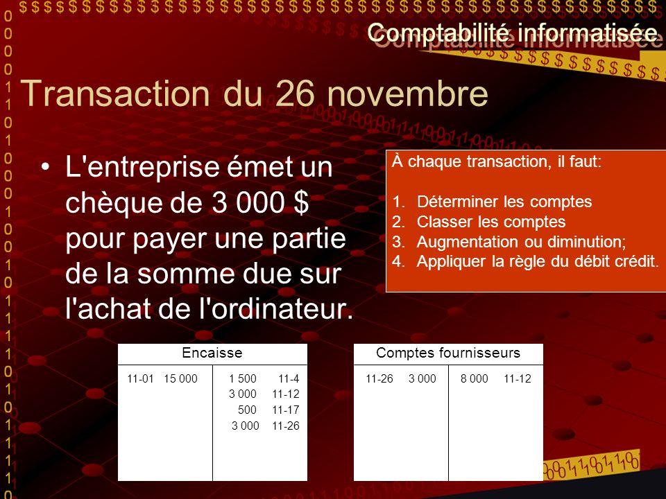 Transaction du 26 novembre