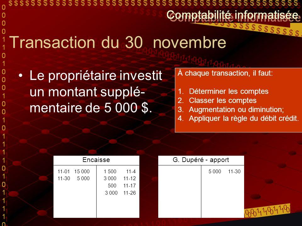 Transaction du 30 novembre