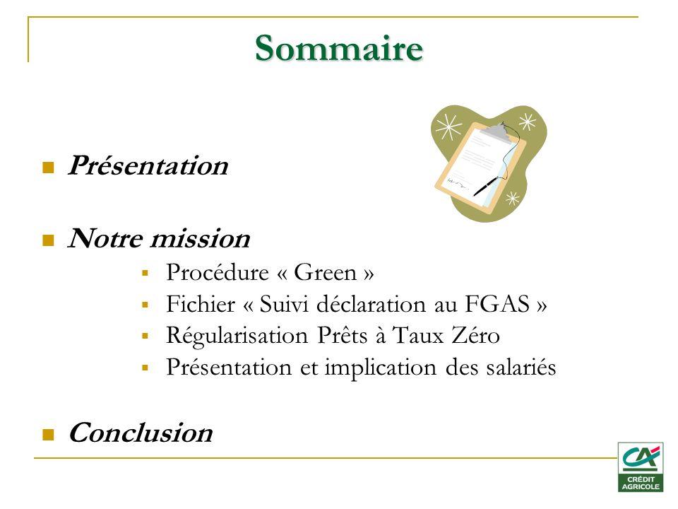 Sommaire Présentation Notre mission Conclusion Procédure « Green »