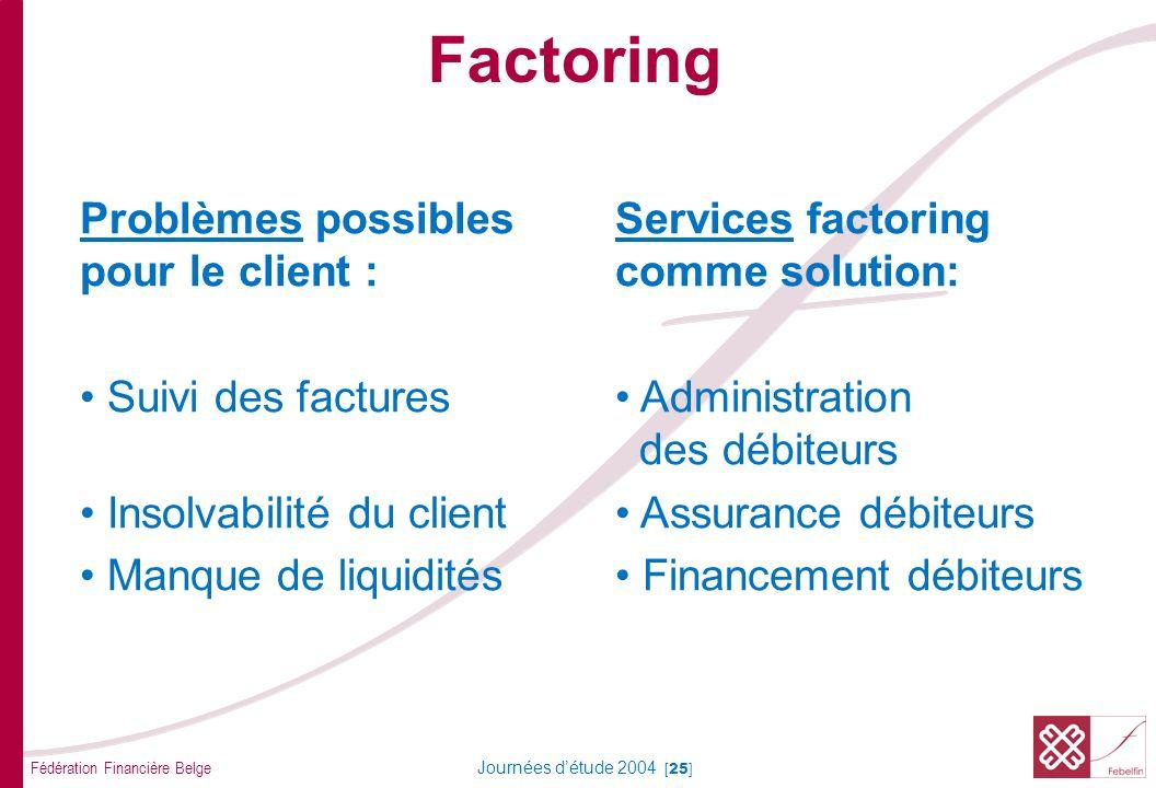 Factoring COMMENT Le factoring (ou l'affacturage) s'effectue via une autre société que la banque.