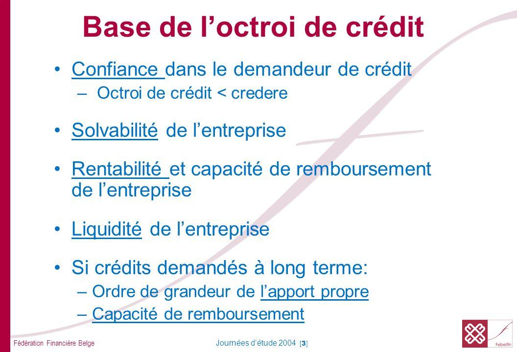 Base de l'octroi de crédit