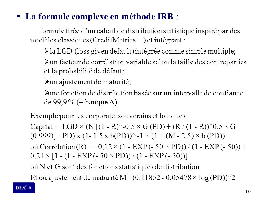 La formule complexe en méthode IRB :