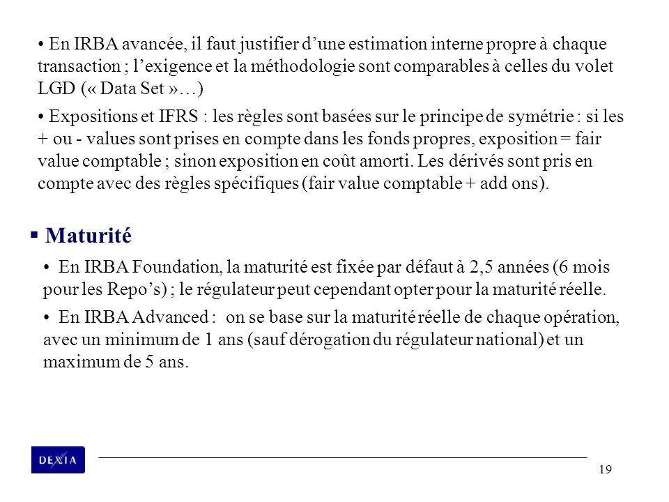En IRBA avancée, il faut justifier d'une estimation interne propre à chaque transaction ; l'exigence et la méthodologie sont comparables à celles du volet LGD (« Data Set »…)