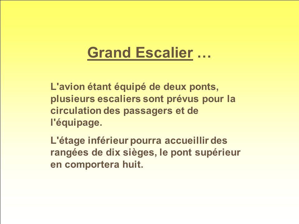 Grand Escalier … L avion étant équipé de deux ponts, plusieurs escaliers sont prévus pour la circulation des passagers et de l équipage.