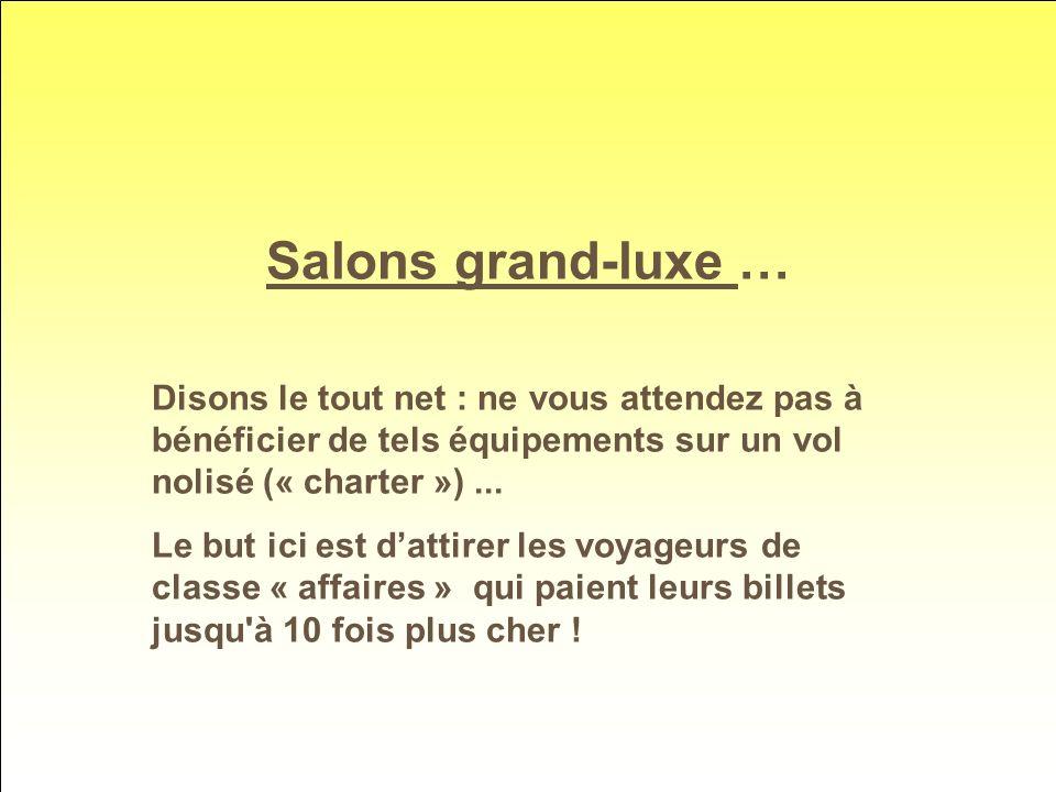 Salons grand-luxe … Disons le tout net : ne vous attendez pas à bénéficier de tels équipements sur un vol nolisé (« charter ») ...