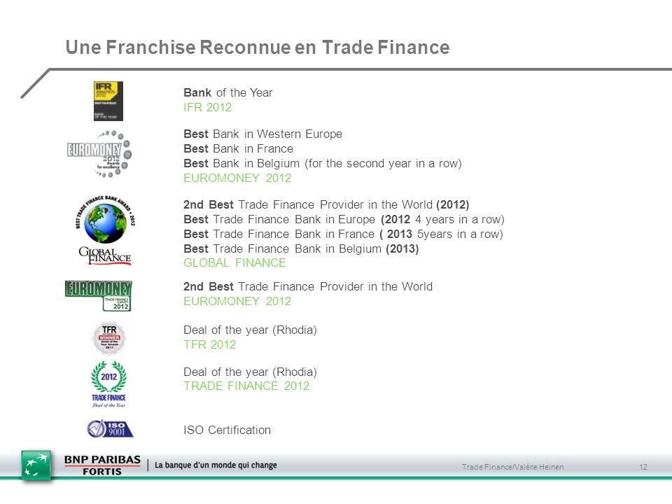 Une Franchise Reconnue en Trade Finance