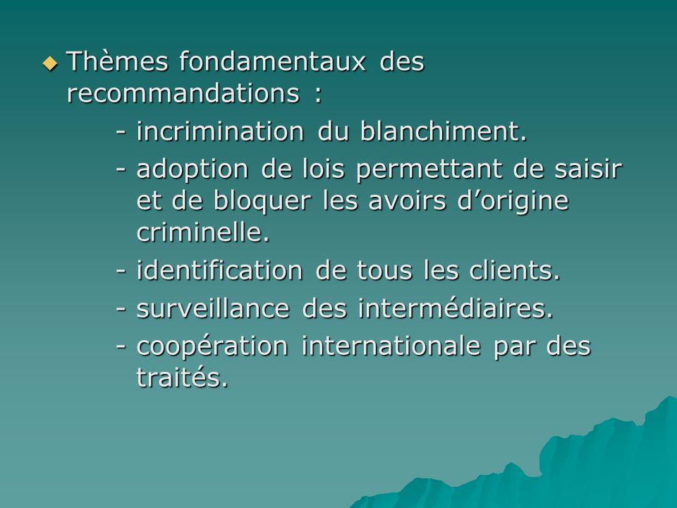 Thèmes fondamentaux des recommandations :