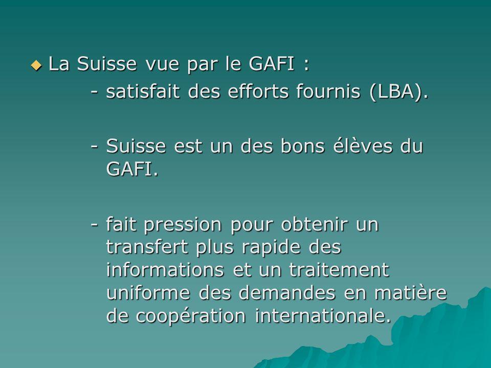 La Suisse vue par le GAFI :