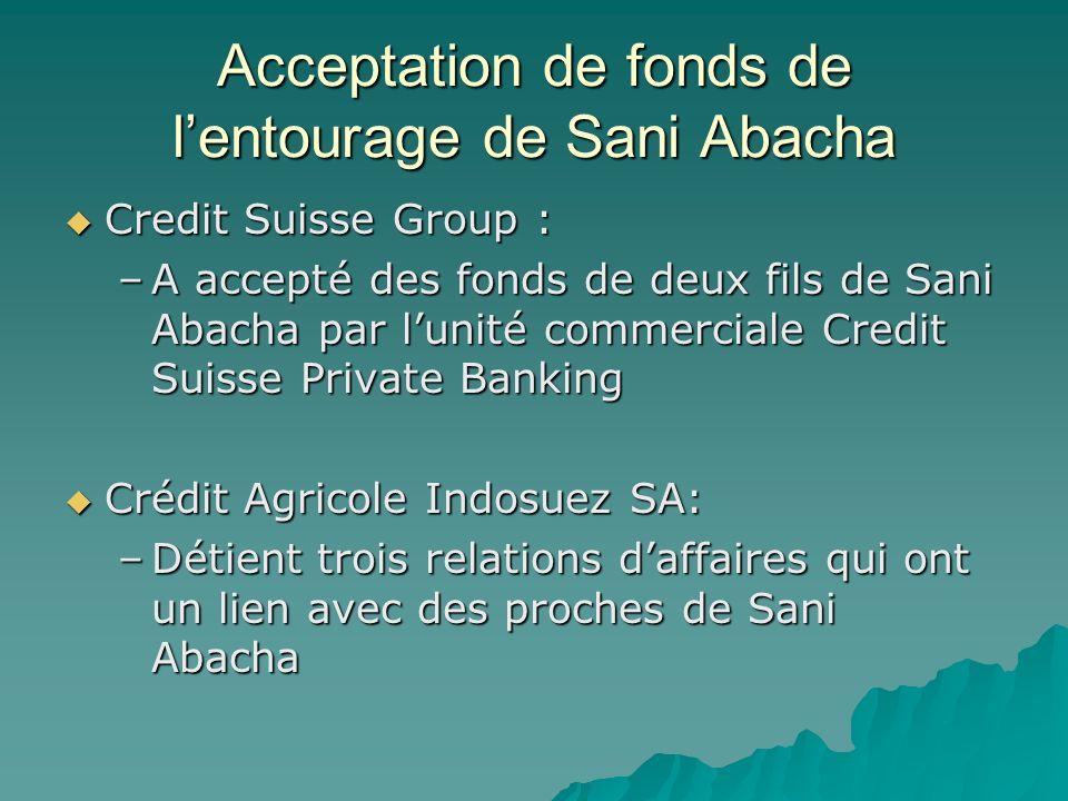 Acceptation de fonds de l'entourage de Sani Abacha