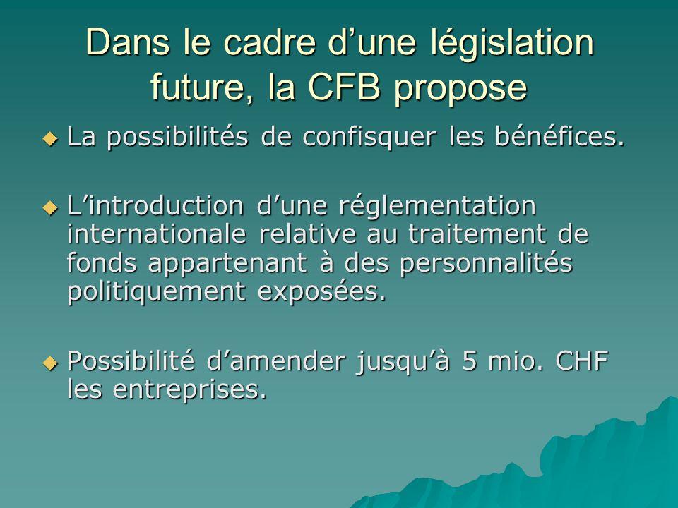 Dans le cadre d'une législation future, la CFB propose