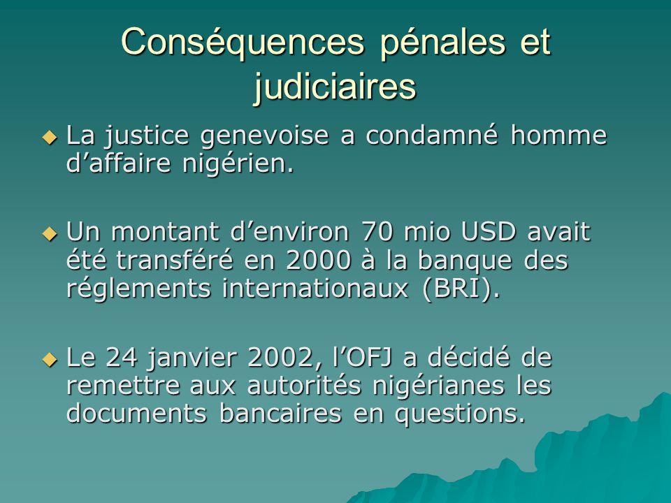 Conséquences pénales et judiciaires