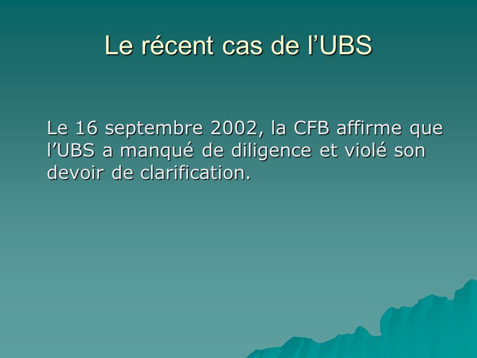 Le récent cas de l'UBS Le 16 septembre 2002, la CFB affirme que l'UBS a manqué de diligence et violé son devoir de clarification.