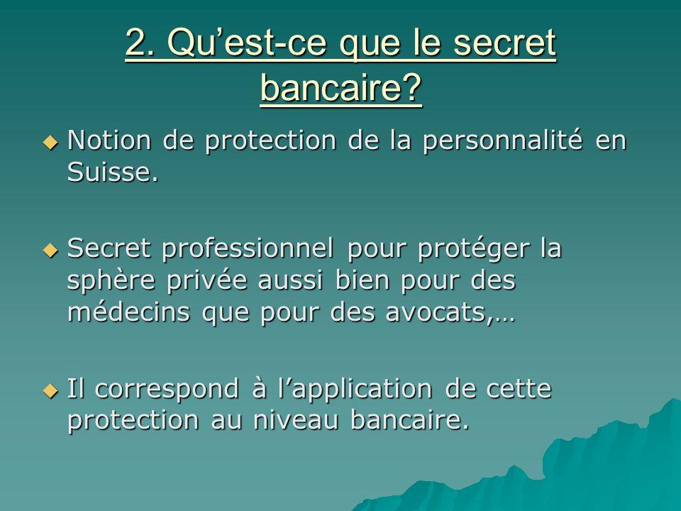 2. Qu'est-ce que le secret bancaire