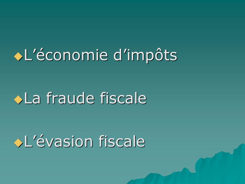 L'économie d'impôts La fraude fiscale L'évasion fiscale