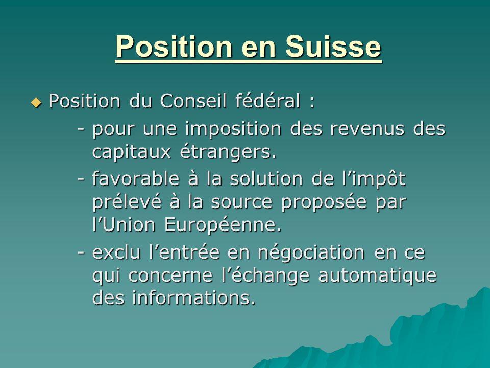 Position en Suisse Position du Conseil fédéral :