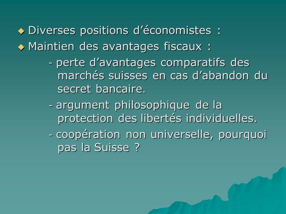 Diverses positions d'économistes : Maintien des avantages fiscaux :