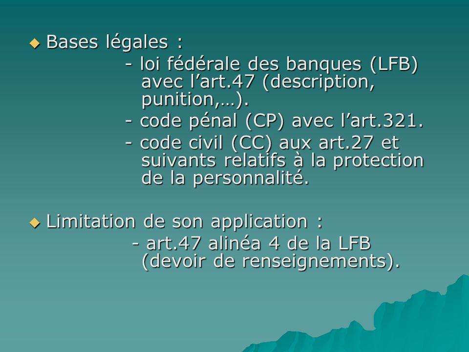 Bases légales : - loi fédérale des banques (LFB) avec l'art.47 (description, punition,…).