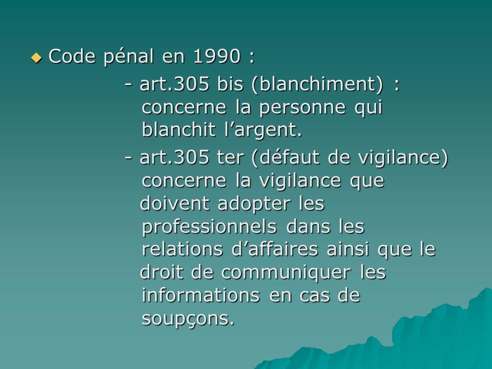 Code pénal en 1990 : - art.305 bis (blanchiment) : concerne la personne qui blanchit l'argent.