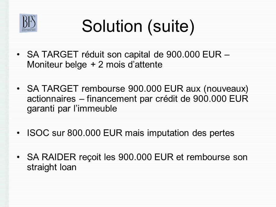 Solution (suite) SA TARGET réduit son capital de 900.000 EUR – Moniteur belge + 2 mois d'attente.
