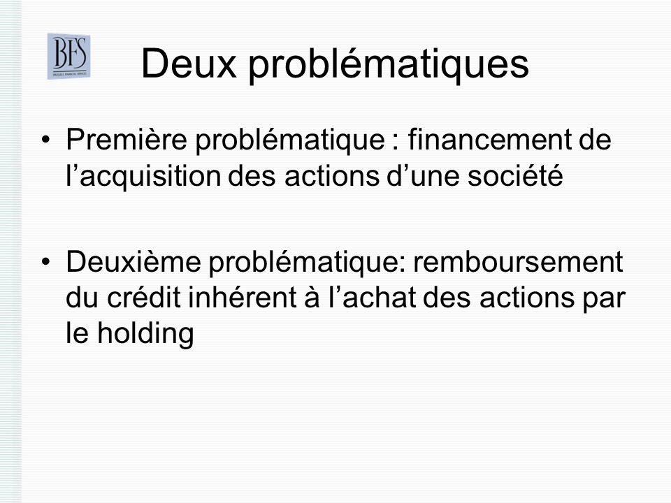 Deux problématiques Première problématique : financement de l'acquisition des actions d'une société.