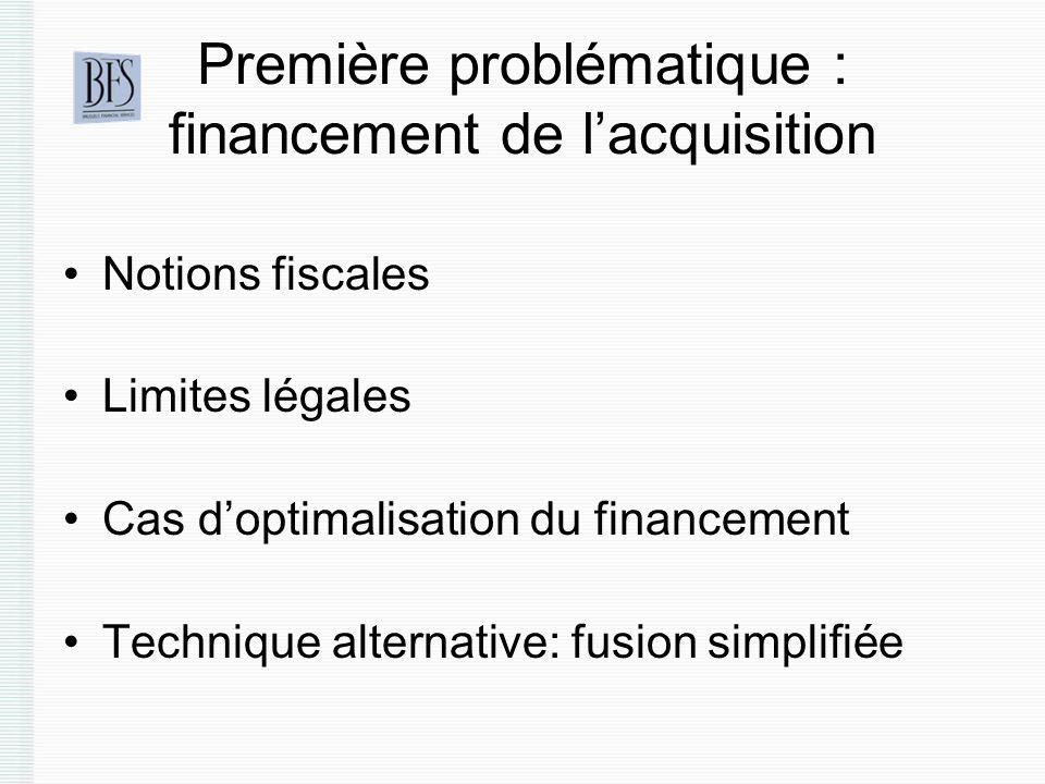 Première problématique : financement de l'acquisition