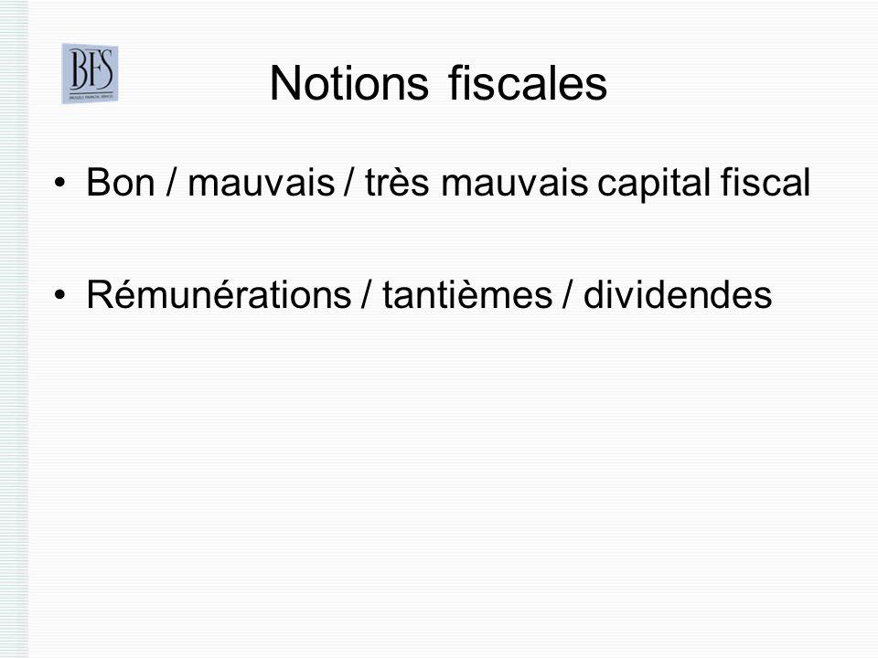 Notions fiscales Bon / mauvais / très mauvais capital fiscal