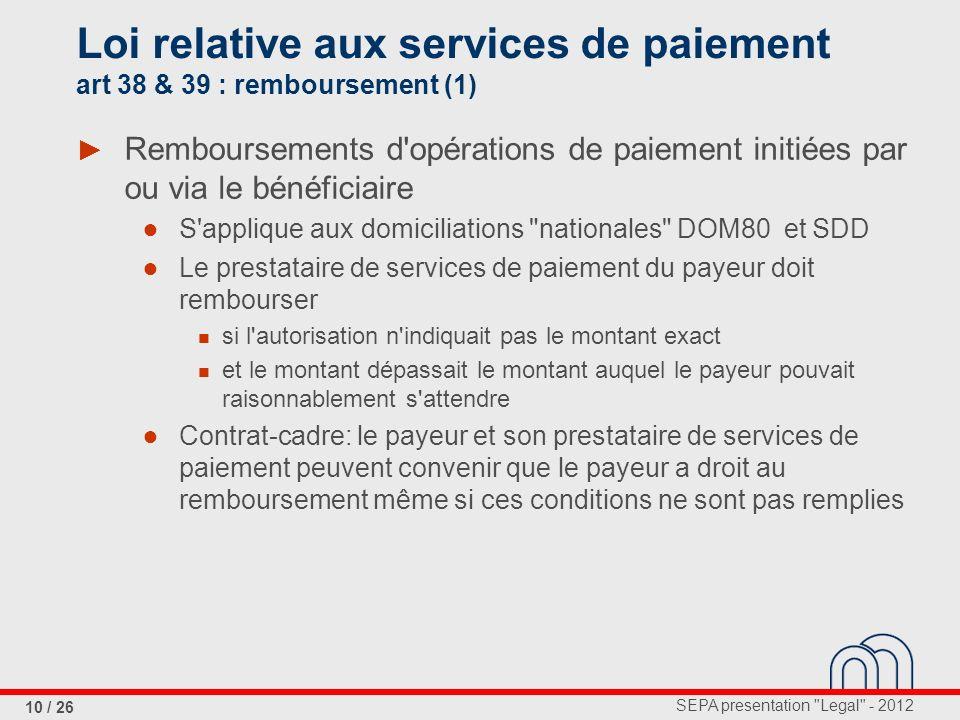 Loi relative aux services de paiement art 38 & 39 : remboursement (1)