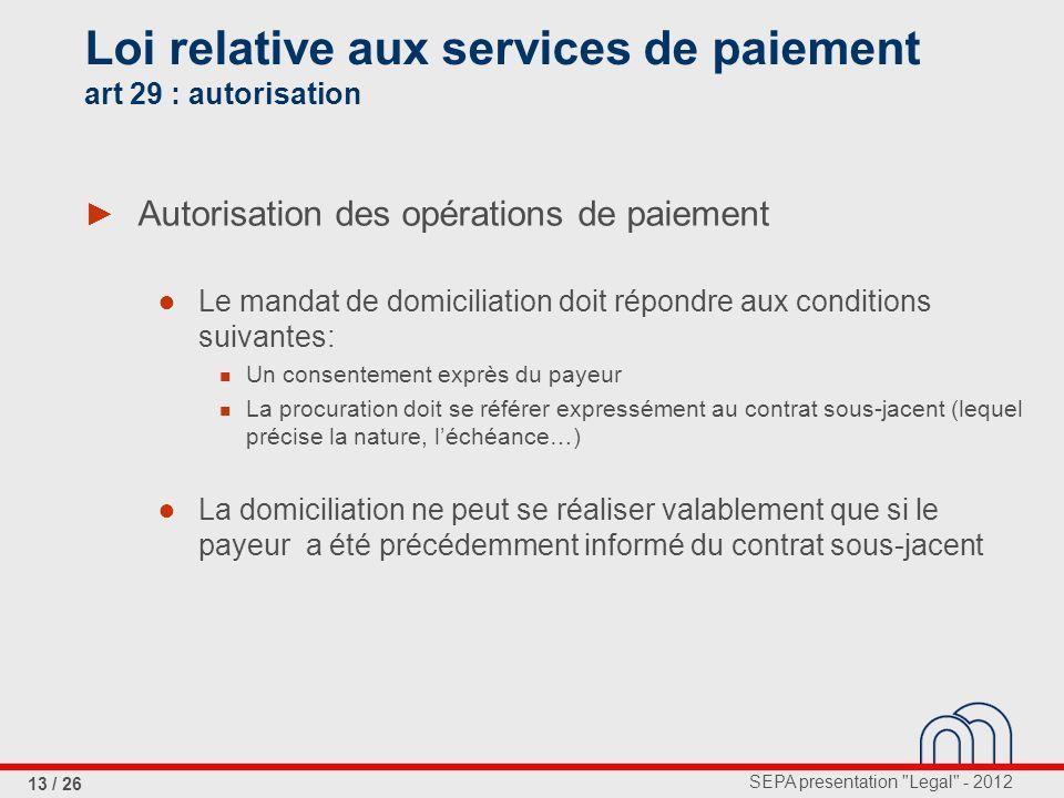 Loi relative aux services de paiement art 29 : autorisation