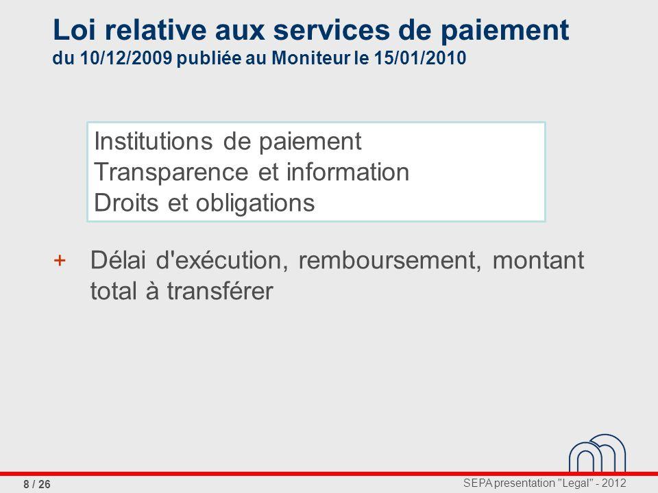 Loi relative aux services de paiement du 10/12/2009 publiée au Moniteur le 15/01/2010