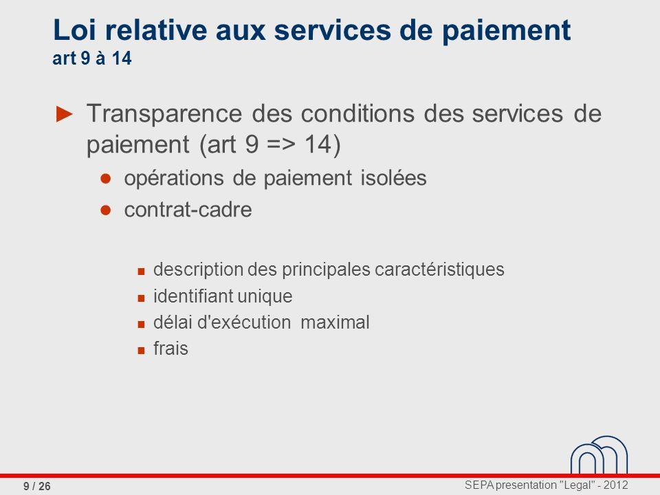 Loi relative aux services de paiement art 9 à 14
