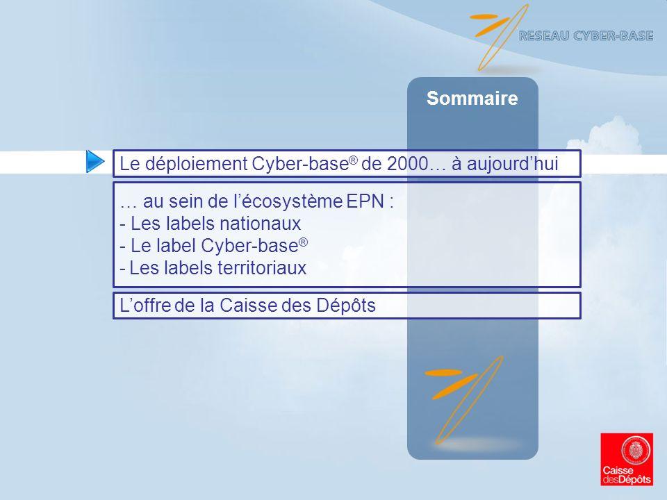 Sommaire Le déploiement Cyber-base® de 2000… à aujourd'hui. … au sein de l'écosystème EPN : Les labels nationaux.