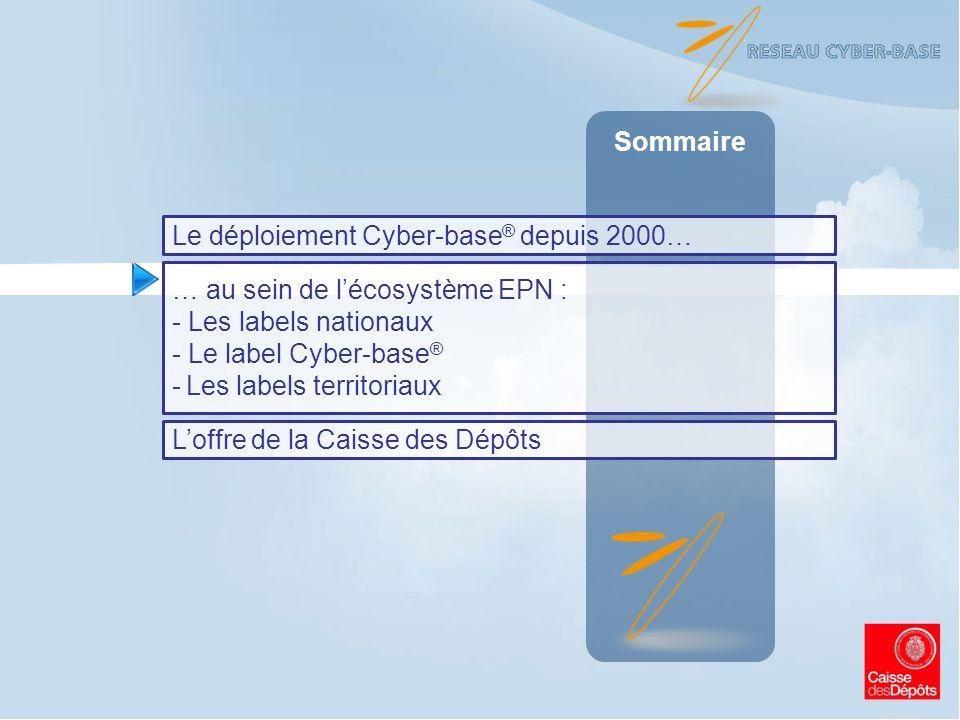 Sommaire Le déploiement Cyber-base® depuis 2000… … au sein de l'écosystème EPN : Les labels nationaux.