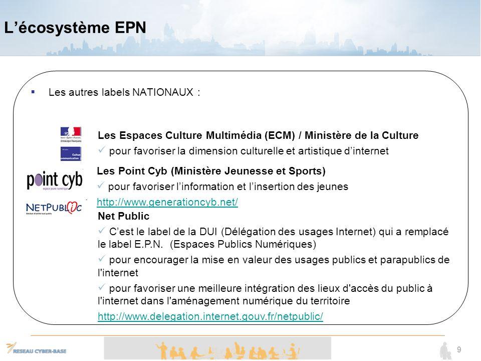 L'écosystème EPN Les autres labels NATIONAUX :