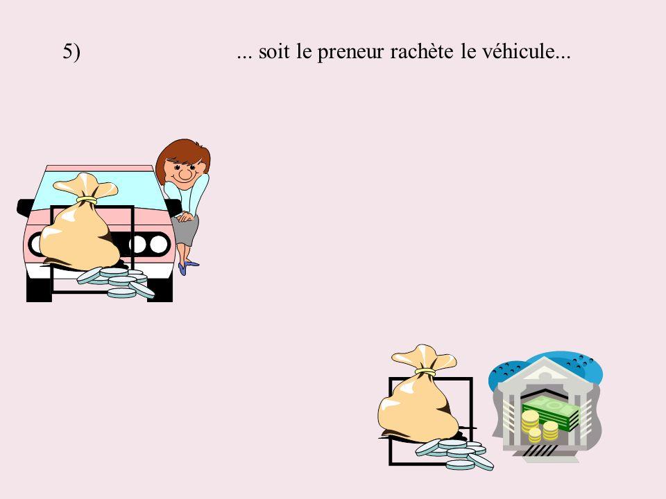 5) ... soit le preneur rachète le véhicule...