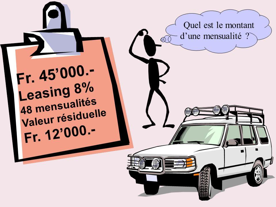 Fr. 45'000.- Leasing 8% Fr. 12'000.- 48 mensualités Valeur résiduelle
