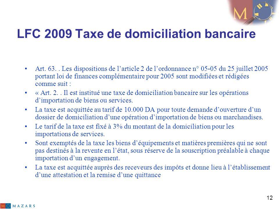 LFC 2009 Taxe de domiciliation bancaire